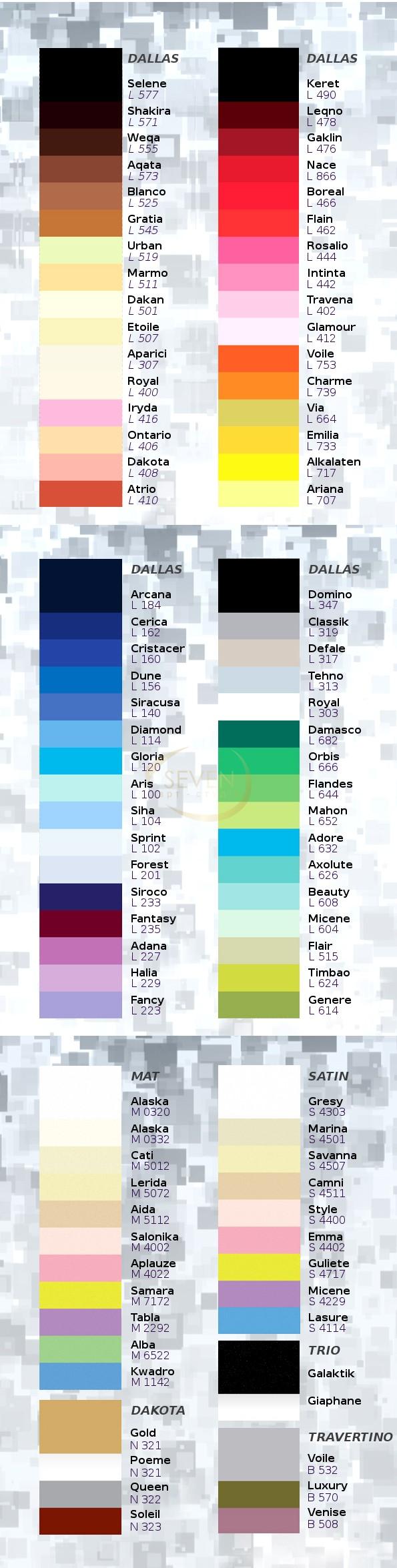 Натяжные потолки - цветовая палитра