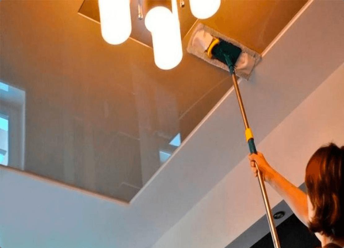 Уход за натяжными потолками.